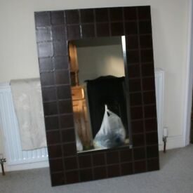 MODERN LARGE STITCHED BROWN LEATHER FRAMED MIRROR