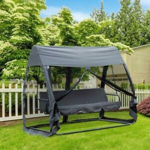 Outdoor Convertible 3 -Seat Porch Swing Chair Bed Hammock Lounger with Netting patio swing