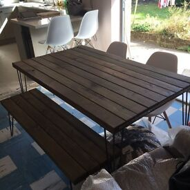 Industrial style table and bench