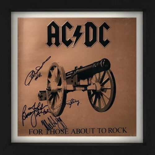 """AC/DC Signed 1981 ACDC """"For Those About To Rock"""" Record Album LP Cover Reprint"""