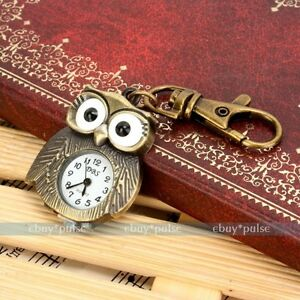 Hot-Antique-Bronze-Tiny-Owl-Pocket-Quartz-Key-Chain-Ring-Kids-Pendant-Watch