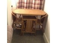 Vintage bamboo table and 2 chairs