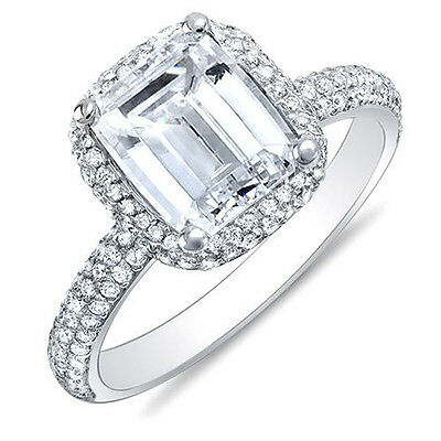 3.00 Ct Emerald Cut Micro Pave Halo Round Diamond Plat Engagement Ring H,VS2 GIA