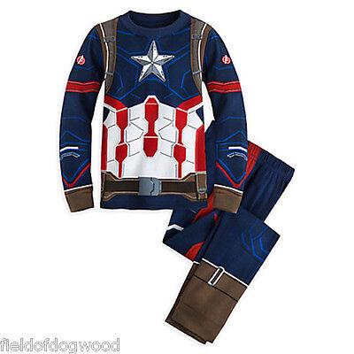 Nwt Disney Store Avengers Captain America Boys Pajamas Pal Pajama Set 5 6 7 8 10