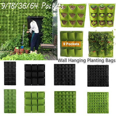 9/18/36 Pockets Wall Hanging Planting Bags Garden Vertical Planter Growing -