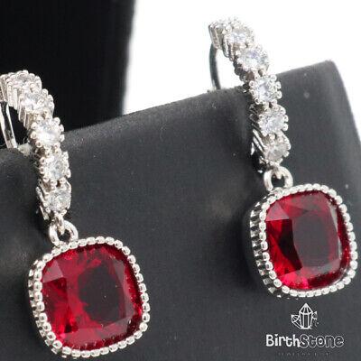 Red Ruby Diamond Hoop Dangle Earrings Women Jewelry 14K White Gold Plated