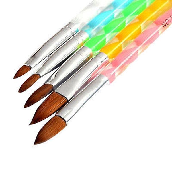 5Pcs Fashion Acrylic 3D Painting Drawing UV Gel DIY Brush Pen Tool Nail Art Set Health & Beauty