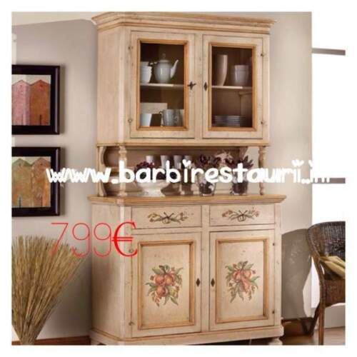 Credenza dispensa laccata decorata tirolese in...