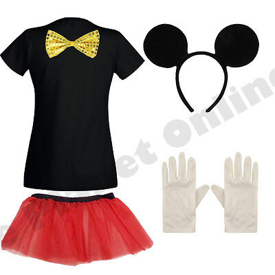 ADULT LADIES MICKEY MOUSE FANCY DRESS COSTUME & SKIRT HEN NIGHT PARTY.
