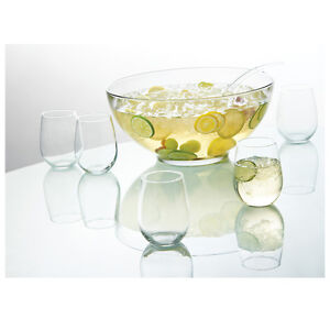 Anchor Hocking 10 Piece Presence Punch Bowl Set with 8 Glasses