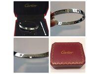 Cartier love bracelet silver size 17 with diamonds or screws only. Last few left!!