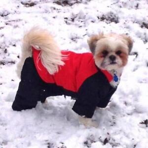 Casual Canine Poly-Filled Nylon Dog Snowsuit, SMALL Red & Black