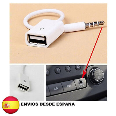 Cable Jack 3.5 auxiliar audio a USB 2.0 OTG adaptador coche USB...