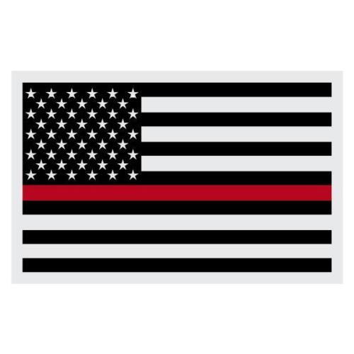 Firefighter Black American Flag Red Line Very Small Reflective Helmet Decal