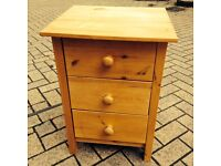Solid pine wood drawers bedside table - can deliver
