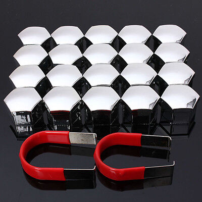 20PCS 19mm SILVER ALLOY WHEEL NUT BOLT COVERS CAPS UNIVERSAL SET FOR ANY CAR