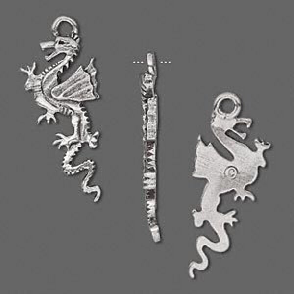 Dragon Pendant 27mm Silver Charm Jewelry Lot of 6