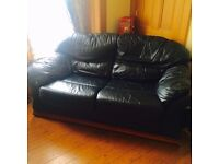 Black real leather sofa