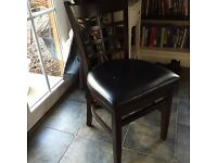 Oak chairs with leather padding