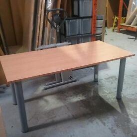 Beech wooden desk with metal legs