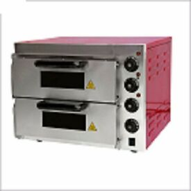 brand new electric double pizza oven with stone base
