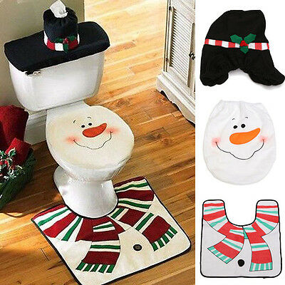 Christmas Decorations Happy Snowman Santa Toilet Seat Cover Rug Bathroom Set