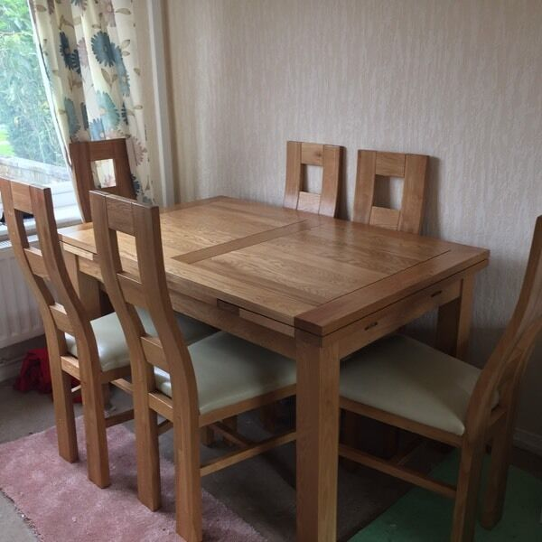 Solid Oak Extending Furnitureland Table And 6 Chairs In Ribbleton Lancashi