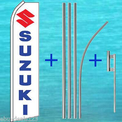 Suzuki Flutter Feather Flag 15 Pole Mount Advertising Sign Swooper Banner