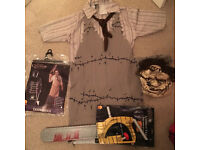 Halloween Leatherface Costume WITH chainsaw prop