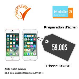 RÉPARATION ÉCRAN BRISÉ IPHONE SE  ET 5S À 59$ GARANTIE 90 JOURS