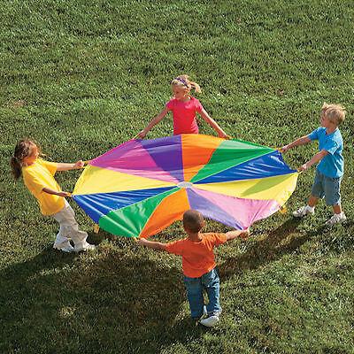 Kids Parachute 6 Ft. Rainbow Teamwork Outdoor Exercise Hand Eye coordination