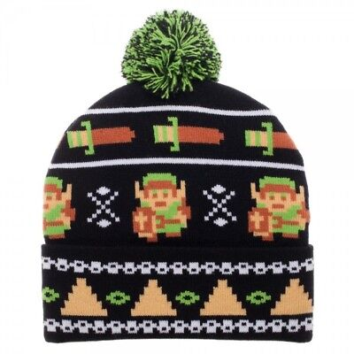 Nintendo Legend of Zelda 8-Bit Pixel Pom Beanie Winter Hat Cap Link Video Game](Link Hat)