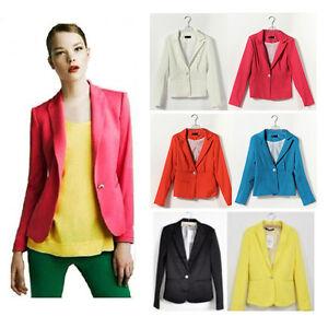 New-Fashion-Women-Ladies-Casual-BLAZER-Flap-One-Button-Suit-Jacket-Stripe-Lining