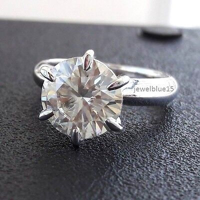 4.00+Ct+Round+Cut+Nearly+White+Moissanite+Engagement+Ring+925+Sterling+Silver+