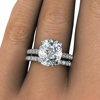 4.10 Ct Cushion Cut Pave Natural Diamond Wedding Set -GIA Certified & Appraised