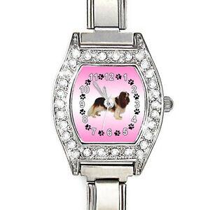 Cavalier-King-Charles-Spaniel-CZ-Lady-Stainless-Steel-Italian-Charm-Watch-BJ1118