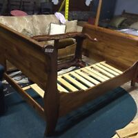 Double pine sleigh bed with slats Very Solid  All Real WOOD