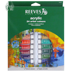 Reeves Artist Acrylic 24 x 10ml Paint Tube Box Set. 24 Assorted Colours.