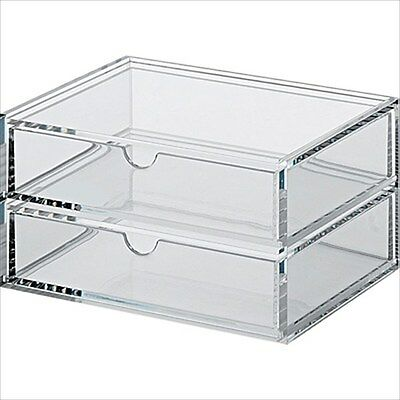 MUJI Acrylic case 2 Multipurpose Drawer Organizer Box 17.5x13x9.5cm Japan