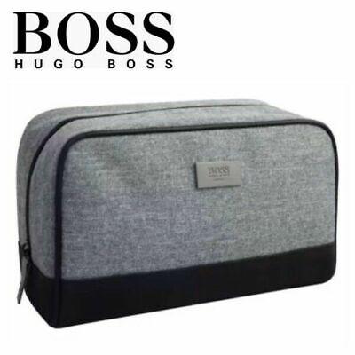 Hugo Boss Men's Grey Toiletry Wash Pouch Shaving Bag new
