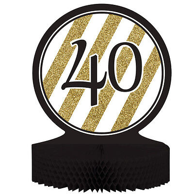 Age 40 / 40th Birthday Black & Gold Table Centrepiece Decoration - New & Sealed - 40th Birthday Table Centerpieces