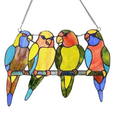 Tropical Birds on Wire Tiffany Style Stained Glass Window Panel  ONE THIS PRICE