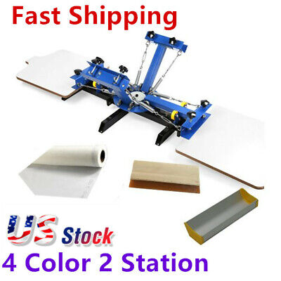 Usa-4 Color 2 Station Silk Screen Printing Machine 4-2 Press Diy T-shirt Printer