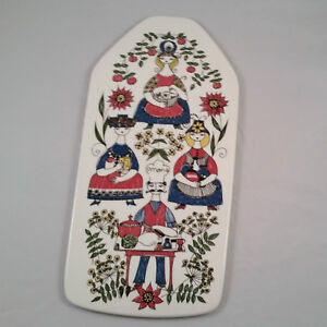 Vintage Figgjo Norway Mons Og Mille Wall Plaque Cheese Platter