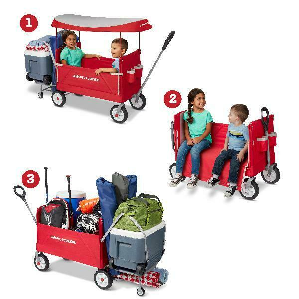 3-in-1 Tailgater folding Wagon with Canopy & wheels for kids