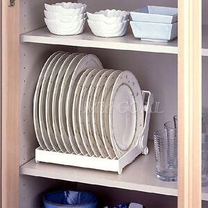 Plate Drying Rack Organizer Drainer Plastic Storage Holder Kitchen