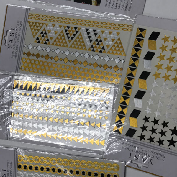 Temporary gold and silver tattoo ready stocks cheap and easy to use party new year countdown