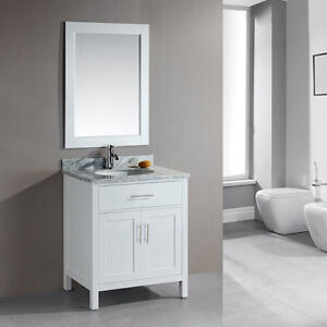 NEW white vanity 30'', white marble counter/ Vanité blanche 30''