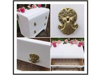 Vintage Chest of Drawers ~ Shabby Chic White Drawers ~ TV Console ~ TV Unit Cabinet ~ Storage