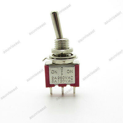 5mini Toggle Switch Spdt 3 Position On-off-on 3-pin 250v 2a 120v 5a Red Mts-103